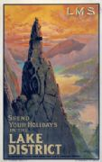 Napes Needle, Great Gable, Lake District, Cumbria. Vintage LMS Travel poster by Montague Birrell Black